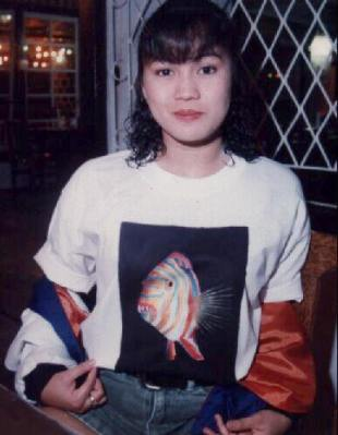 Jojie and her handpainted shirts in 1995