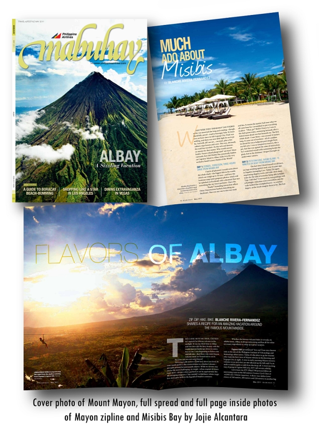 Cover of Mabuhay Magazine May 2011 and full spread by Jojie Alcantara