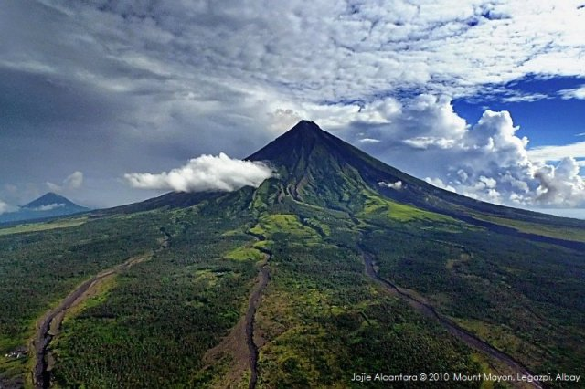 Mount Mayon's fiery perfect cone captured from a chopper by Jojie Alcantara