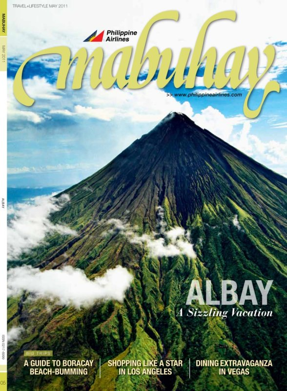 Aerial shot of Mount Mayon on cover of Mabuhay Magazine by Jojie Alcantara