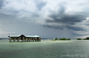 Vanishing Island in Samal waters on a high tide