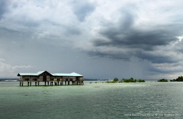 Vanishing Island in Samal waters on a high tide