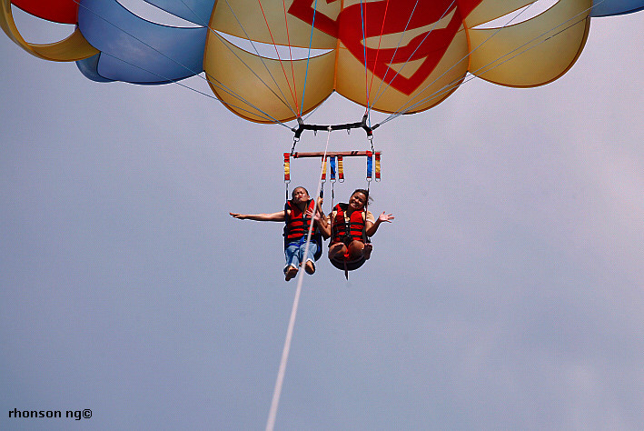 Sylvia and Jojie parasailing in Boracay