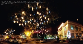 Panoramic shot of San Pedro, Rizal Park and Davao City Hall at night during Christmas