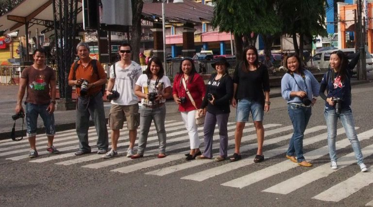 Jojie Alcantara and participants in the street photography workshop