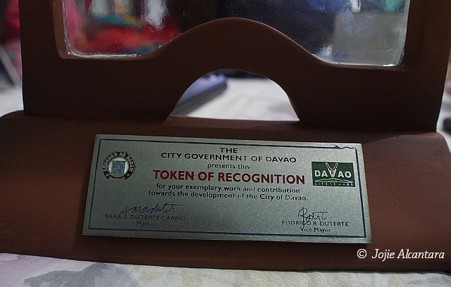 My award of recognition from my city  © Jojie Alcantara