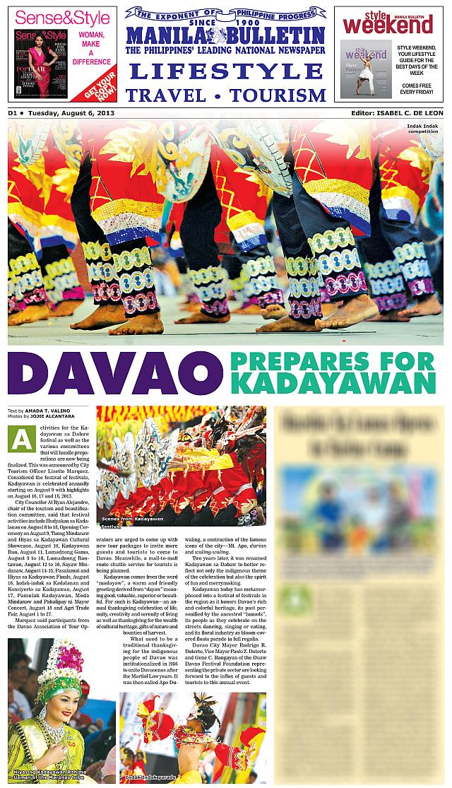 Kadayawan Festival photos in Manila Bulletin by Jojie Alcantara