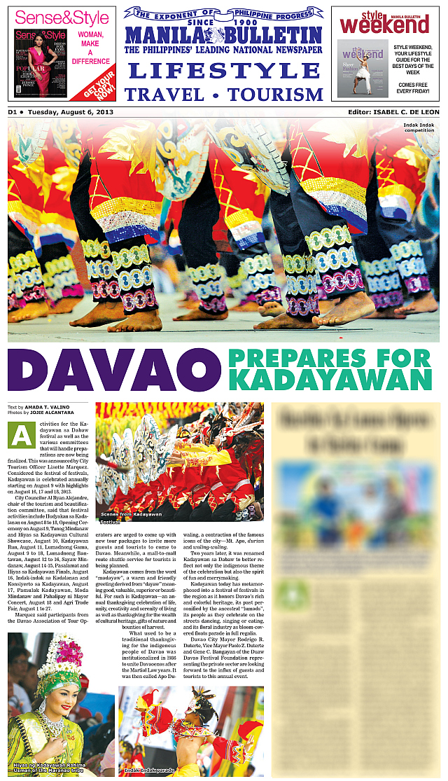 Kadayawan Festival photos in Manila Bulletin by Jojie Alcantara