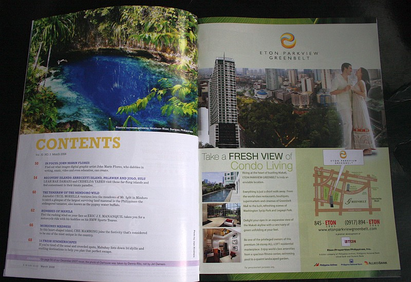 Hinatuan River published in PAL's Mabuhay Magazine