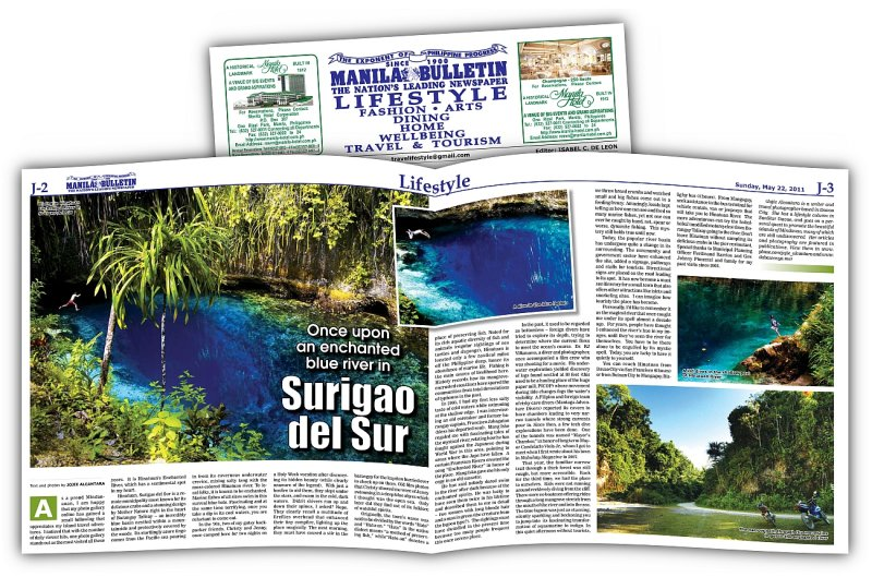 Hinatuan River published in Manila Bulletin