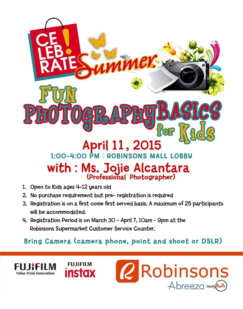 Photography workshop poster for kids