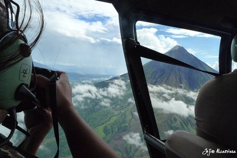 Aerial photography of Mount Mayon by chopper |  Photo of me taken by Rubi de Vera