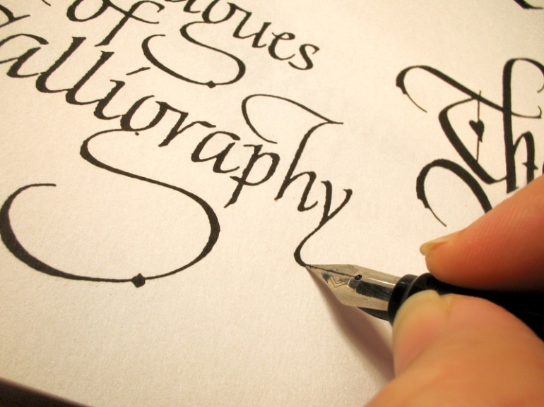 writing in calligraphy letter form